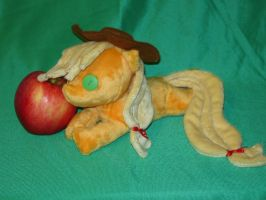 Beanie baby style Applejack plushie by WhiteHeather