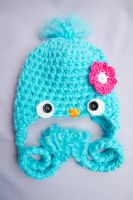Baby blue bird crocheted hat by theaquallama