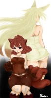 Vulpix and Ninetails- human version by PawsforHead