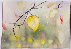Autumn Leaf Watercolor by teatimetomorrow