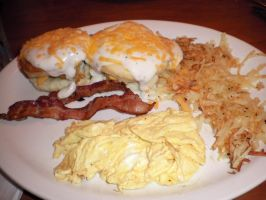 Bacon, eggs, hash browns and biscuits by AnaturalBeauty