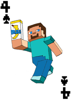 Steve From Minecraft 4 of Spades Card by JenniBee