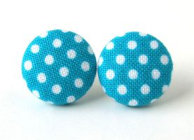 Blue button earrings studs white polka dots by KooKooCraft