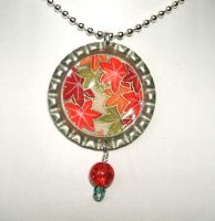 Leaves bottle cap pendant by inchworm