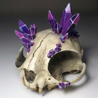 Resin cast Persian Cat Skull w/ Crystals by BlueLiquorice