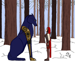 Mor and Faol in a Snowy Forest (Red Hood) by LadyElasa