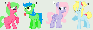 .:CLOSED:. Pony Group Adoptables 2 by PennyDropShop