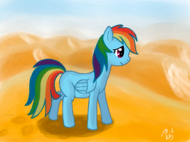 Rainbow Dash in desert. by TwilightSquare