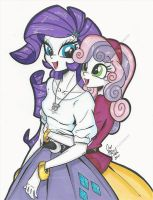 Rarity and Sweetie Belle Equestria Girl commission by PonyGoddess