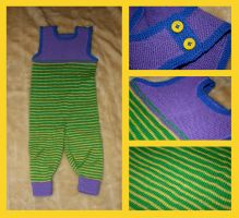 Colorful, baby boy rompers by KnitLizzy