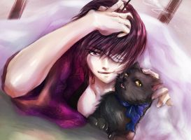 Takasugi and cat by tokinokoe