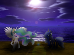 Celestia And Luna On The Night Beach by Kana-The-Drifter