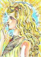 Goddess of the Sun ACEO No.43 by PiuPiuThePENGUIN