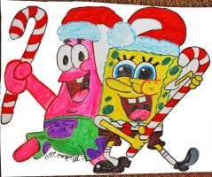 Spongebob and Patrick Window Decoration by the-sashimi-frog