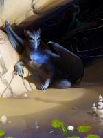 Blue Dragon in cave by Ales-fera