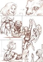Tigra and The Beast chase a red dot - pencil by Nick-Perks