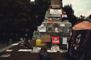 Occupy Montreal: Statue by skullkid4900