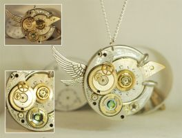Handcrafted Steampunk 'Clockwork Songbird' Pendant by Henri-1