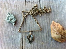 Simple Copper Wire  and Leaf Pendant by Folksaga