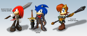 Sonic Age: Sonic, Sally and Knuckles by Zephyros-Phoenix