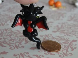 Baby Black Polymer Clay Dragon by sanxcharms
