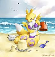 Renamon at the beach by RenamonFandom