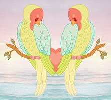 Love Birds In Paradise by kicksatanout
