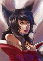 Ahri fanart (fast and improvised) by MarisaArtist