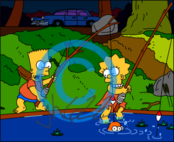 Bart And Lisa Fishing by jh622
