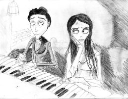 The Corpse Bride, The Piano Duet by BryThatDrawingGuy