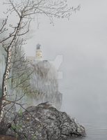 North Shore Lighthouse in the Fog by ts-arts