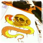 Snake and Skull by ScribblingTend