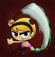 Mandy with Grim's scythe 2 by yashichi