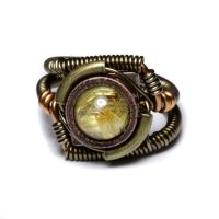 Steampunk golden quartz ring by CatherinetteRings