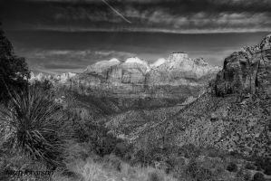 View of Zions BW by mjohanson