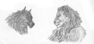 Werewolf and lion by Rahball