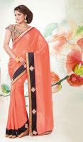 Pale-Tomato-Chiffon-and-Satin-Saree-FD-1754-38188  by ethniclover