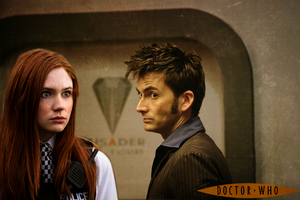 Amy Pond and 10th Doctor AU Poster by feel-inspired