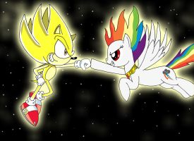 Super Sonic and Super Rainbow Dash by LightDegel