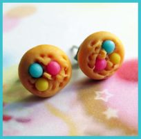 Color Cookies Stud Earrings by cherryboop