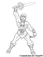 COM : Ash into He-man part 7 SKETCH by whiteguardian