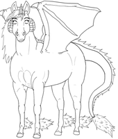 Free lineart-Dragorse by Catbirdwoman