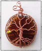 Tree of life pendant- Copper and glass. by AmberEliz