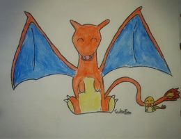 Charizard and Charmander by Thunder2910