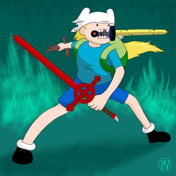 Three Swords Finn by Kairu-Hakubi