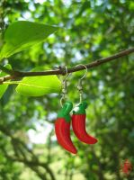 Red hot Chili Peppers Earrings by daria-86