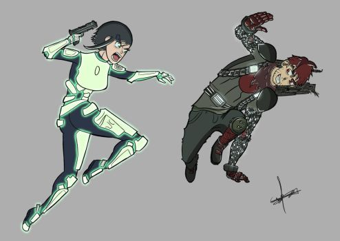 Sci-fi Police and robber colored! by Raptorspok