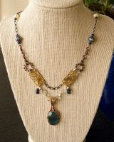 Steampunk Labradorite Necklace by CrystalKittyCat