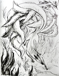 Ninetails Ink Drawing by fluffyz