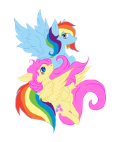 fluttershy and rainbow dash by holyhell111